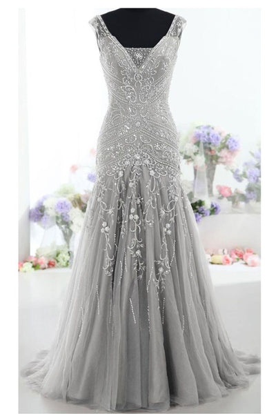 Embroidery Mermaid Sleeveless Silver Evening Prom Dress Party Gowns LD175