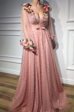 2019 New Long Sleeves V Neck Pearls Pink 3D Floral Fancy Prom Dresses Formal Evening Dress LD1761