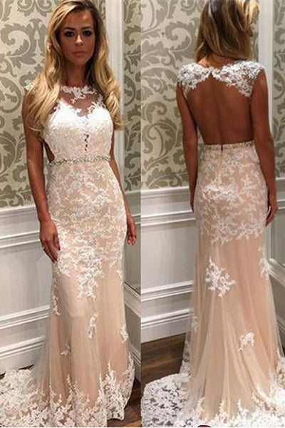 Open Back Cap Sleeves Lace Appliques Sheath Long Prom Dresses Formal Evening Fancy Dress LD1769