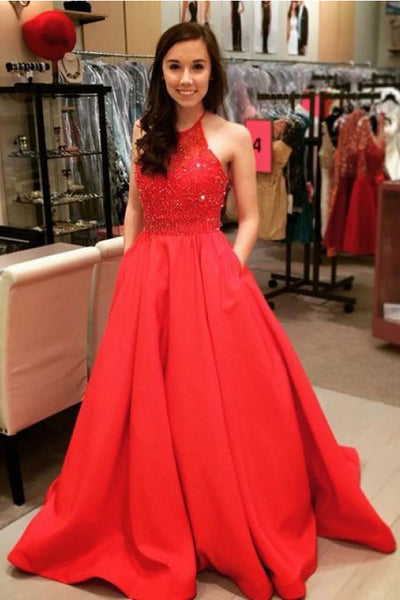 A Line Halter Beaded Red Satin Long Prom Dresses Formal Evening Fancy Dress With Pocket LD1772