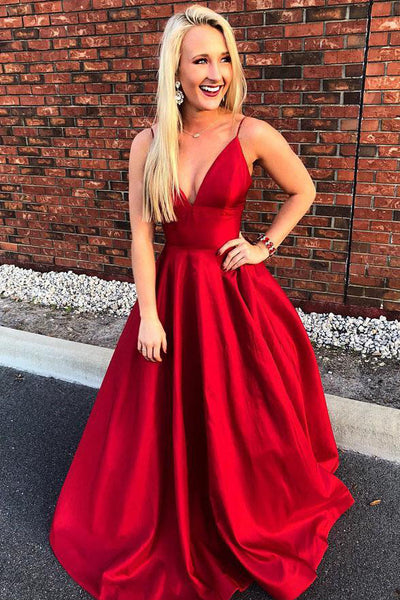 Spaghetti Straps V Neck Red Satin Long Fancy Prom Dresses Formal Evening Grad Dress LD1773