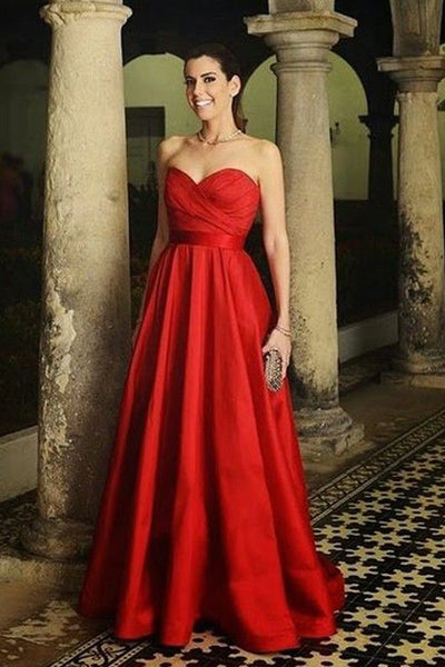 A Line Strapless Red Empire Waist Floor Length Fancy Prom Dresses Formal Evening Dress LD1778