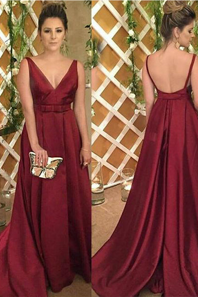 Simple V Neck A Line Burgundy Satin Bow Long Fancy Prom Dresses Formal Evening Grad Dress LD1781