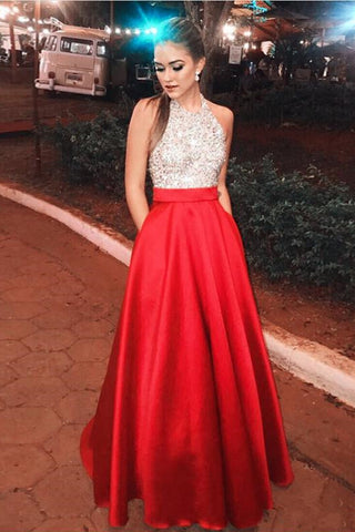 4e2c9e1f7 A Line Halter Red Beaded Long Fancy Prom Dresses Formal With Pocket –  Laurafashionshop