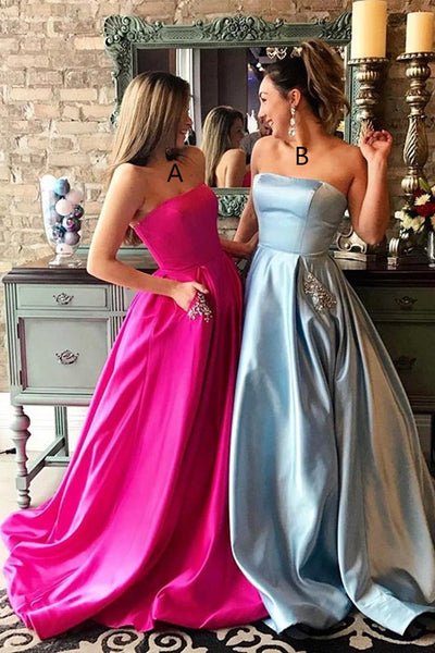 Princess Strapless A Line Hot Pink Satin Long Prom Dresses Formal Evening Dress With Pocket LD1784