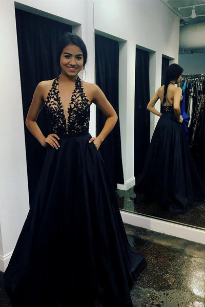 Deep V Neck Halter Lace Black Open Back A Line Prom Dresses Formal Evening Dress With Pocket LD1786