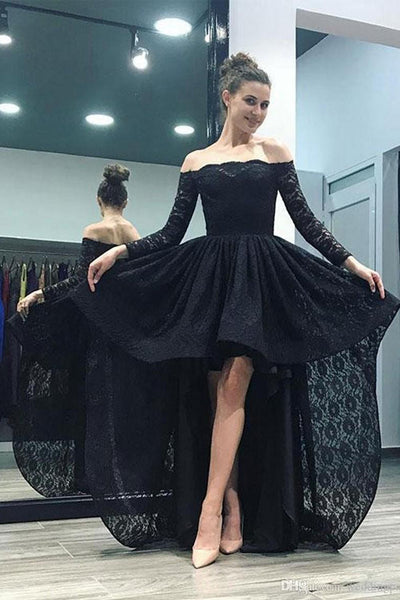 Off the Shoulder Long Sleeves Black Lace  Hi-Lo Fancy Prom Dresses Formal Evening Grad Dress LD1789