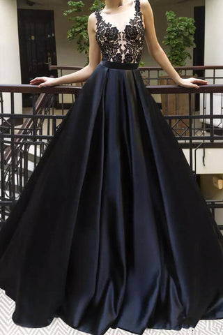 A Line Black Lace Satin See Through Long Prom Dresses Formal Evening Grad Dress Gowns LD1792