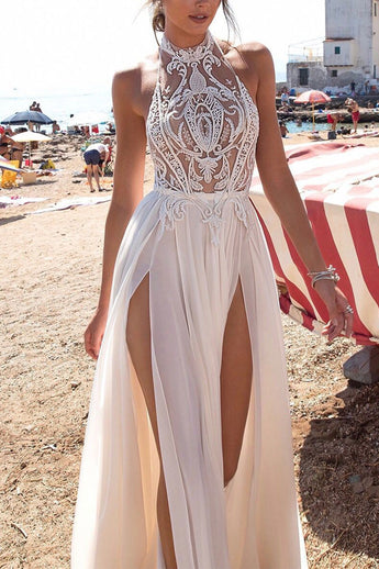 Sexy Open Back Halter Lace See Through Two Slit Long Beach Wedding Prom Dresses Formal Dress LD1795