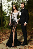 All See Through White Black Lace Mermaid Long Sleeves Sexy Prom Dresses Evening Dress LD1810