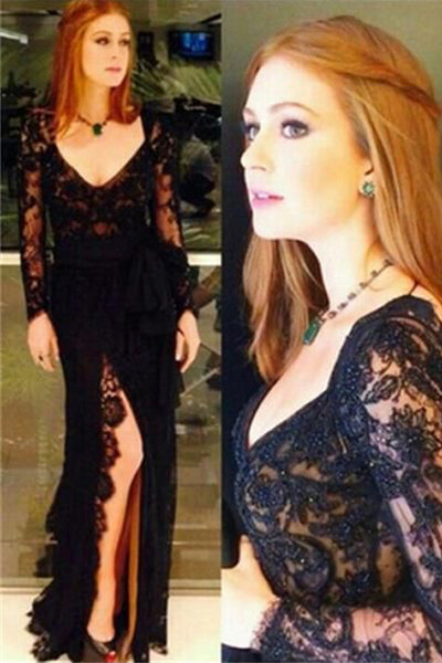 Black Lace V Neck Long Sleeves Front Slit Open Back Prom Dresses Formal Evening Dress LD1804