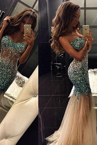 Sexy Strapless Heavy Rhinestones Crystal Long Mermaid Prom Dresses Formal Evening Dress LD1805