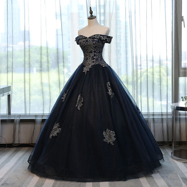 Navy Blue Off the Shoulder Lace Appliques Ball Gown Prom Dresses Evening Quinceanera Dress LD1812