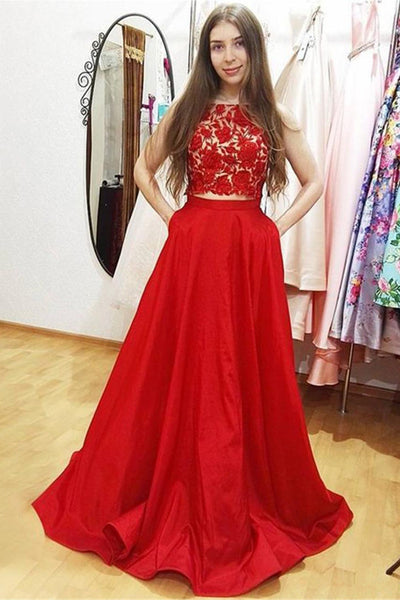 Two Piece Red Lace High Neck Long Prom Dresses Formal Evening Grad Dress With Pocket LD1814
