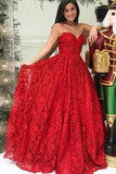 A Line Strapless Red Lace Beaded Long Formal Prom Dresses Fancy Evening Dress Gowns LD1815