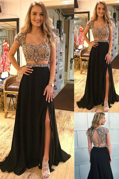 Two Piece Cap Sleeves Backless Beaded Black Long Prom Dresses Formal Evening Fancy Dress LD1818