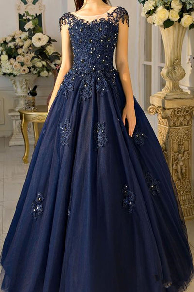 A Line Lace Appliques Navy Blue Cap Sleeves Prom Dresses Formal Evening Fancy Dress Gowns LD1819