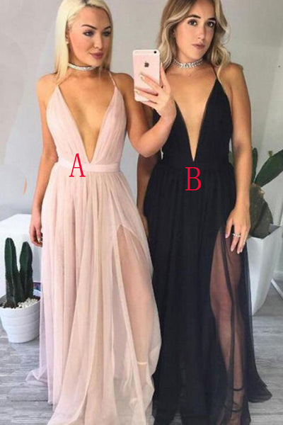 Backless Saghetti Straps Deep V Neck Pink Prom Dress Black Evening Gowns LD181