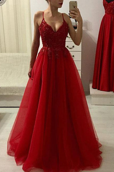 Burgundy A Line Lace Appliques Beaded Prom Dresses Formal Evening Fancy Dress Gowns LD1821