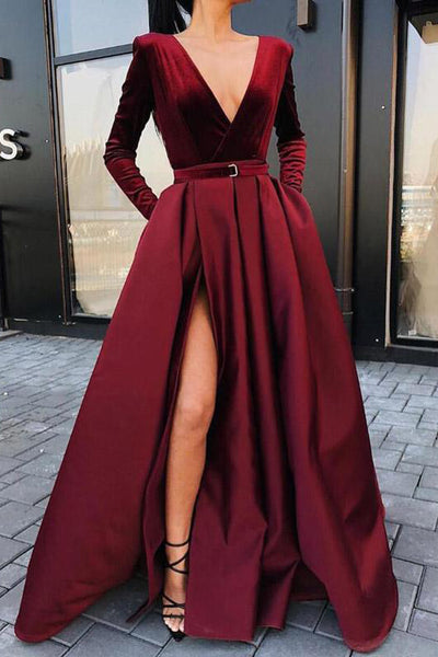 Elegant Long Sleeves V Neck Burgundy Slit Velvet Prom Dresses Formal Evening Fancy Dress LD1823