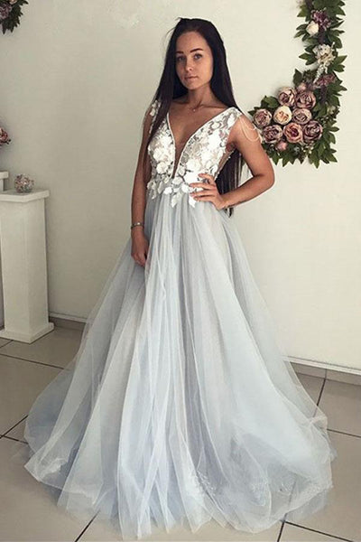 Deep V Neck See Through Open Back Lace Prom Dresses Formal Evening Fancy Dress Gown LD1829