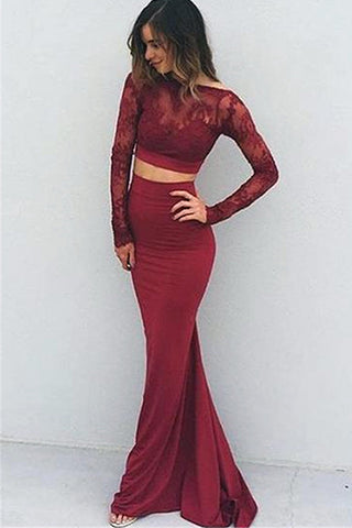 Long Sleeves Burgundy Lace 2 Piece Backless Mermaid Evening Prom Dress LD182