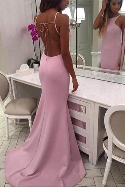 Open Back High Neck Pink Spaghetti Straps Mermaid Long Prom Dresses Formal Evening Dress LD1830