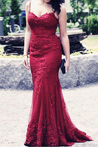 Burgundy Spaghetti Straps Lace Mermaid Long Prom Dresses Formal Evening Fancy Dress LD1831