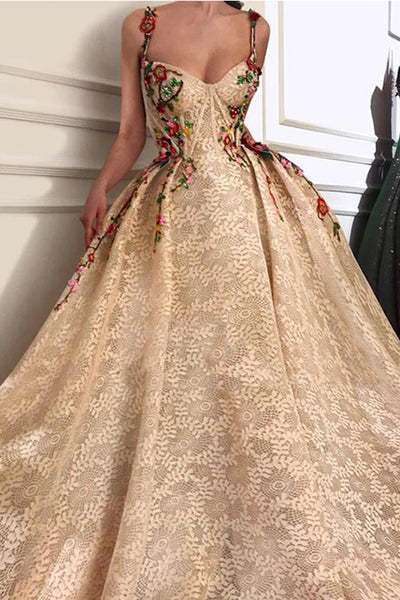 Fashion 3D Floral Spaghetti Straps Ball Gown Lace Prom Dresses Evening Formal Dress LD1834