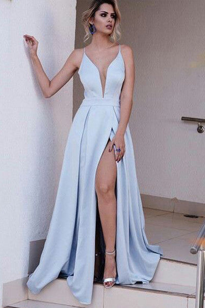 High Quality Deep V Neck Light Blue Long Cheap Prom Dress Party Gowns LD183