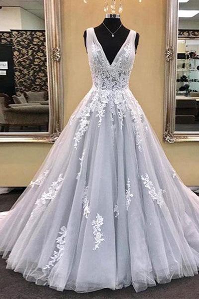 A Line V Neck Lace Appliques Tulle Long Prom Dresses Formal Evening Quinceanera Dress LD1840