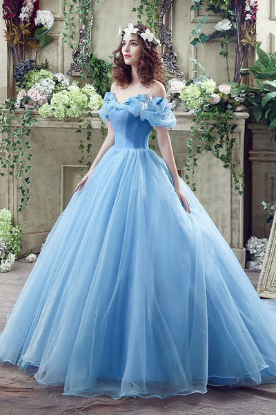 Princess Ball Gown Off the Shoulder Light Blue Prom Dresses Formal Evening Quinceanera Dress LD1841