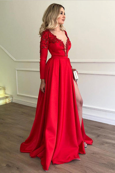 Deep V Neck Long Sleeves Lace Appliques Red Slit Prom Dresses Formal Evening Fancy Dress LD1842