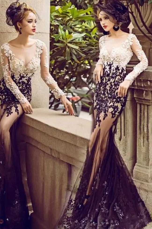 Sexy See Through Long Sleeves Lace White Black Mermaid Prom Dresses Formal Evening Dress LD1843