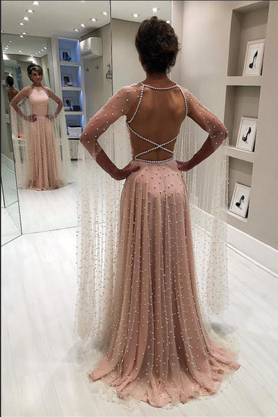 New Arrival High Neck Pearls Open Back Long Prom Dresses Formal Evening Fancy Dress LD1844