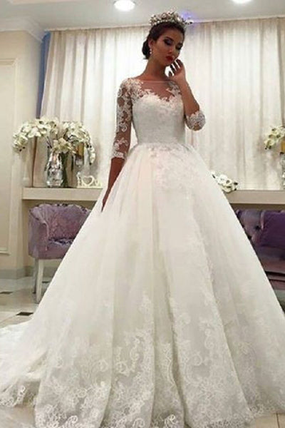 Fashion 3/4 Long Sleeves Ivory Lace High Quality Wedding Dresses Bridal Gown Dress LD1846