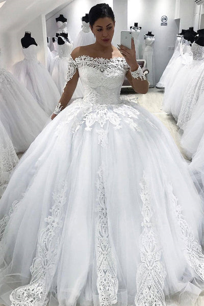 Long Sleeves Ball Gown Wedding Dresses White Lace High Quality Off the Shoulder Bridal Dress LD1847