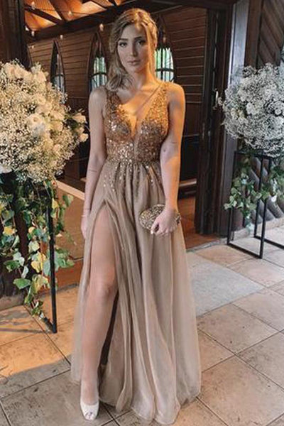 A Line Deep V Neck Beaded Crystal Slit Backless Long Prom Dresses Formal Evening Party Dress LD1851