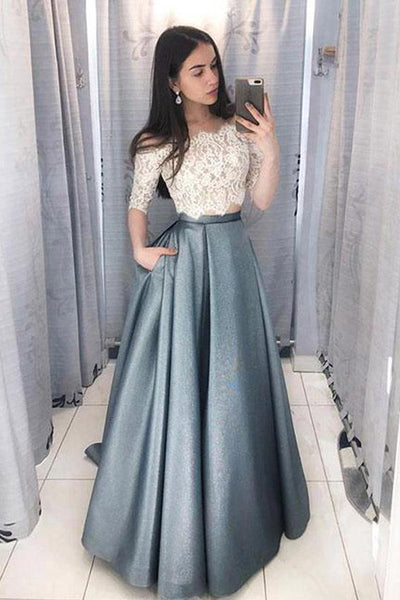 Two Piece Half Sleeves White Lace Off Shoulder Long Prom Dresses Formal Fancy Evening Dress LD1857