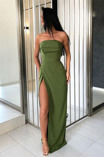 Fashion Strapless Green Sheath Slit Long Prom Dresses Formal Fancy Evening Dress Gowns LD1858
