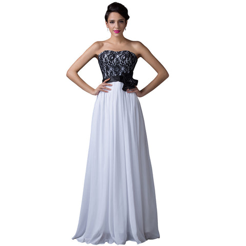 Black Lace White Chiffon Strapless Empire Waist Prom Dress Party