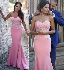 New Arrival Pink Strapless Beaded Long Mermaid Prom Dresses Formal Evening Fancy Dress LD1860