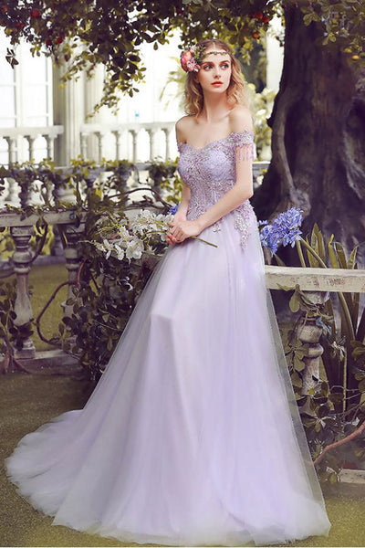 Princess A Line Lace Appliques Off the Shoulder Lilac Long Prom Dresses Formal Evening Dress LD1861