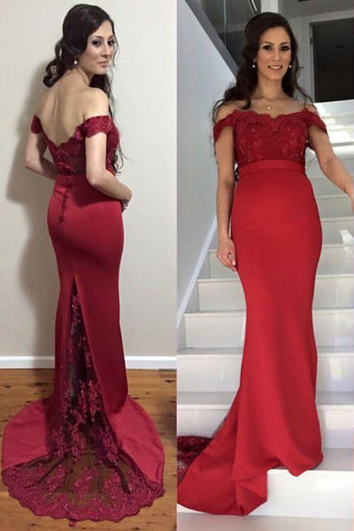 Burgundy Off the Shoulder Lace Appliques Mermaid Prom Dresses Formal Long Evening Dress LD1862