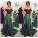 A Line Off the Shoulder Lace Dark Green Long Prom Dresses Formal Evening Fancy Dress LD1865