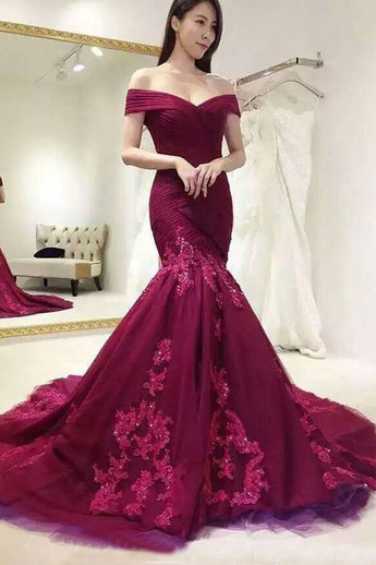 Chic Mermaid Burgundy Ruffles Lace Appliques Long Prom Dresses Formal Evening Dress LD1869
