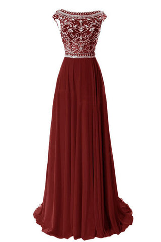 Rust Red Chiffon Back V Rhinestones Long Prom Dresses Party Gowns LD186