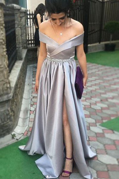 Simple A Line Off the Shoulder Empire Waist Split Long Prom Dresses Formal Evening Dress LD1872