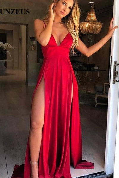 Elegant A Line Red V Neck Slit Spaghetti Straps Long Prom Dresses Formal Evening Fancy Dress LD1873