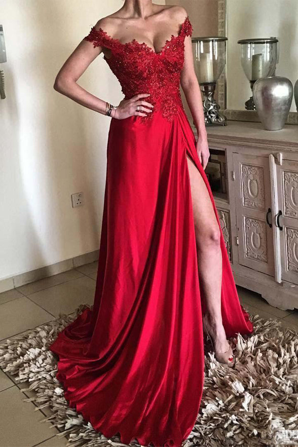 Fashion A Line Lace Appliques Red Slit Beaded Long Prom Dresses Formal Evening Dress LD1874